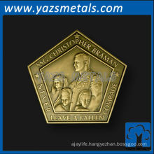 custom coins, customize high quality soldier's coin, pentagon shape